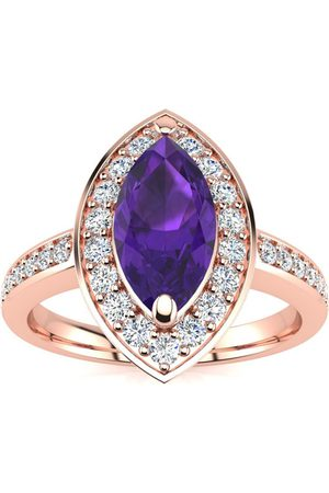 SuperJeweler Women Rings - 1 Carat Marquise Amethyst & 28 Diamond Ring in 14K (3 g)