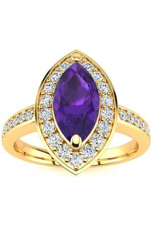 SuperJeweler 1 Carat Marquise Amethyst & 28 Diamond Ring in 14K (3 g)