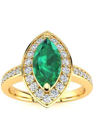 SuperJeweler 1 Carat Marquise Emerald Cut & 28 Diamond Ring in 14K (3 g)
