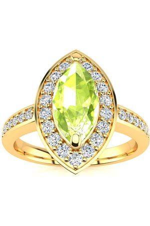 SuperJeweler Women Rings - 1 Carat Marquise Peridot & 28 Diamond Ring in 14K (3 g)