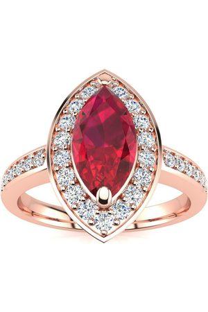 SuperJeweler 1 Carat Marquise Ruby & 28 Diamond Ring in 14K (3 g)