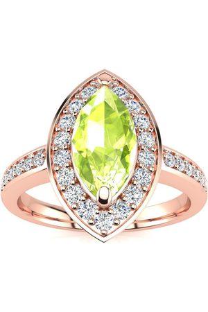 SuperJeweler 1 Carat Marquise Peridot & 28 Diamond Ring in 14K (3 g)