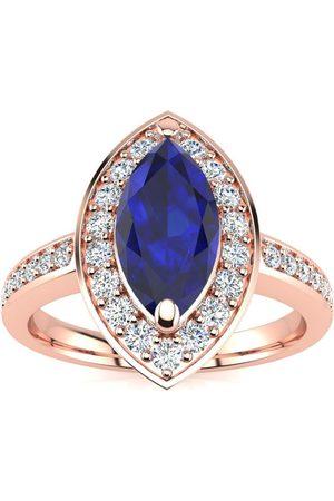 SuperJeweler 1 Carat Marquise Blue Sapphire & 28 Diamond Ring in 14K (3 g)