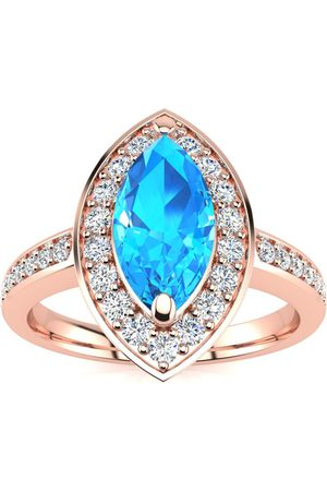 SuperJeweler 1 Carat Marquise Blue Topaz & 28 Diamond Ring in 14K (3 g)