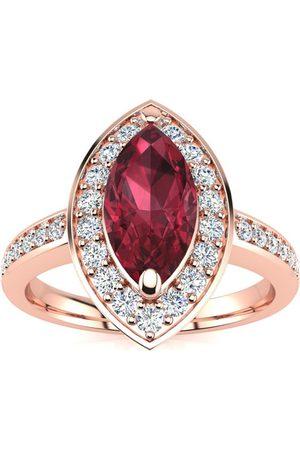 SuperJeweler Women Rings - 1 Carat Marquise Garnet & 28 Diamond Ring in 14K (3 g)