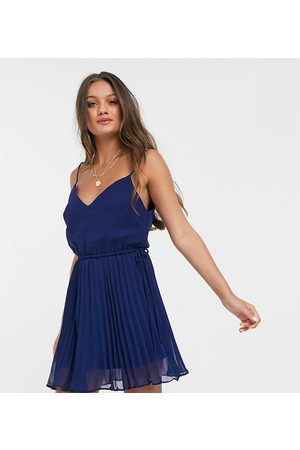 ASOS Women Party Dresses - ASOS DESIGN Petite pleated cami mini dress with drawstring waist in navy