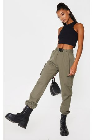 PRETTYLITTLETHING Khaki Buckle Detail Cargo Pants