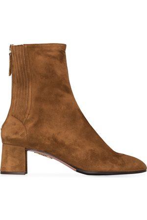 Aquazzura Camel Saint Honore 50 suede ankle boots