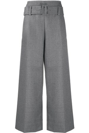 Marni Women Wide Leg Pants - Flared high waisted trousers with belt - Grey