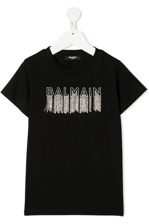 Balmain Fringed logo T-shirt