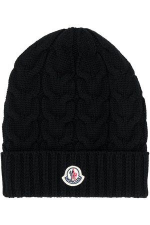 Moncler Boys Beanies - Logo patch cable knit beanie
