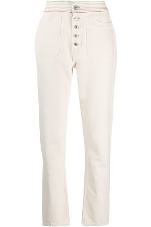 RE/DONE High-waisted contrast stitching jeans - Neutrals