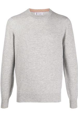 Brunello Cucinelli Men Sweatshirts - Crew-neck cashmere pullover - Grey
