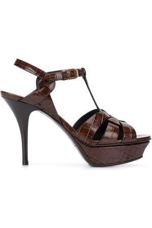 Saint Laurent Women Sandals - Tribute crocodile-effect sandals