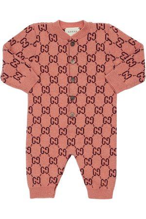 Gucci Logo Jacquard Knit Wool Romper