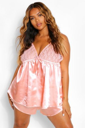 Boohoo Womens Plus Satin And Lace Trim Pj Short Set - - 22