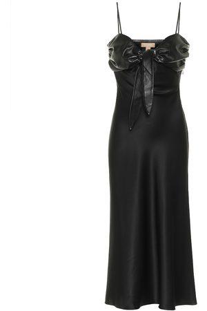 Matériel Tbilisi Faux leather-trimmed silk satin dress