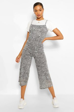 Boohoo Womens T-Shirt & Leopard Print Cami Jumpsuit 2 In 1 Set - - 4