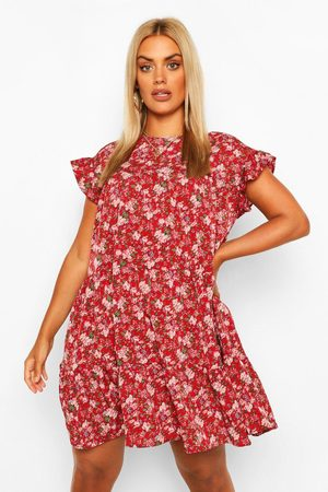 Boohoo Women Printed Dresses - Womens Plus Ditsy Floral Tiered Ruffle Smock Dress - 12