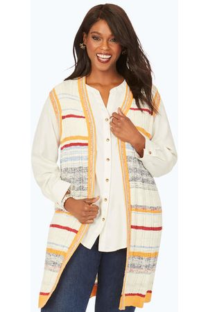 Foxcroft Women Tank Tops - Plus Sleeveless Textured Stripe Vest