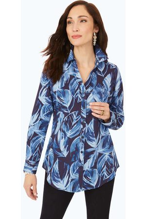Foxcroft Women Tunics - Non-Iron Brushstroke Leaves Tunic