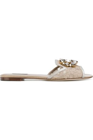 Dolce & Gabbana Bianca crystal-embellished lace sandals - Neutrals