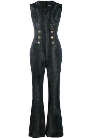 Balmain Metallic threading flared jumpsuit
