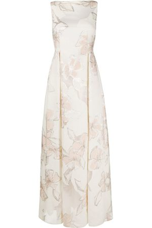 TALBOT RUNHOF Jacquard effect maxi dress - Neutrals