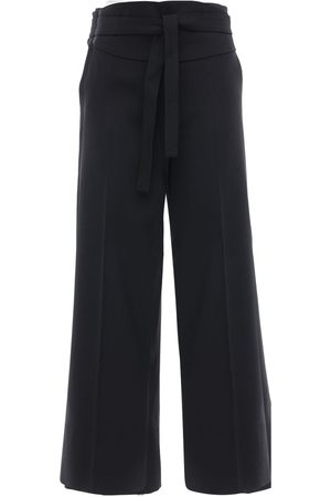 Max Mara Belted Wool Crepe Crop Pants