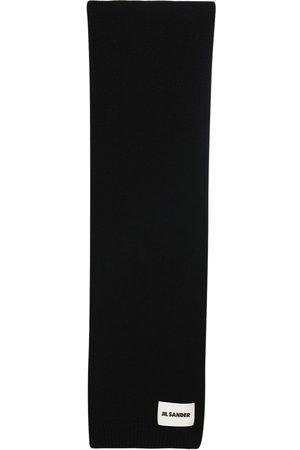 Jil Sander Cashmere Knit Maxi Scarf W/ Logo Patch