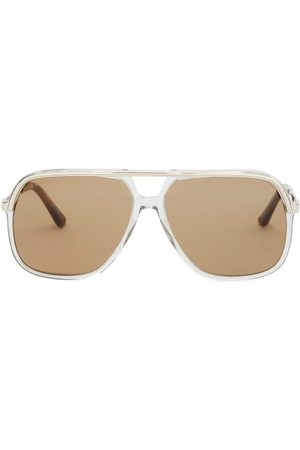 Gucci Web-stripe Aviator Acetate And Metal Sunglasses - Mens - Grey