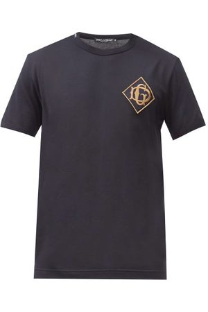 Dolce & Gabbana Monogram-embroidered Cotton-jersey T-shirt - Mens - Navy