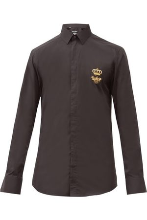 Dolce & Gabbana Men Business - Bee-embroidered Slim-fit Cotton-poplin Shirt - Mens
