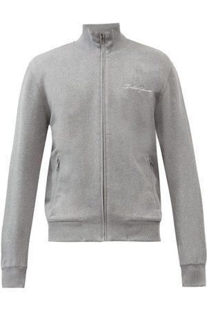 Dolce & Gabbana Logo-embroidered Cotton-blend Jersey Track Jacket - Mens - Grey