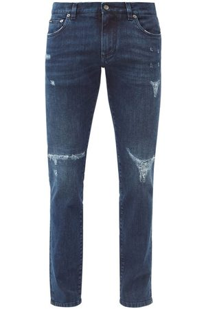 Dolce & Gabbana Distressed Cotton-blend Slim-leg Jeans - Mens