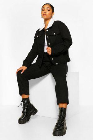 Boohoo Womens Plus Borg Collar Jean Jacket - - 12