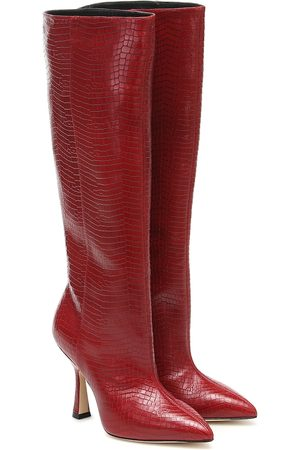 Stuart Weitzman Parton croc-effect leather knee-high boots