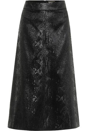Saint Laurent Snake-effect high-rise velvet midi skirt