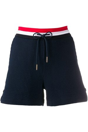 Thom Browne Women Shorts - Ribbed waistband track shorts