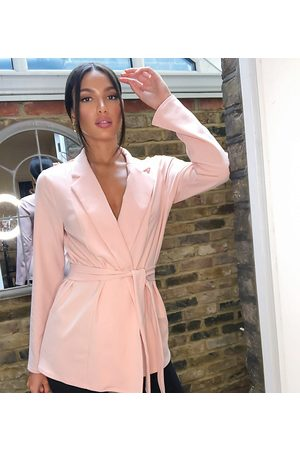 ASOS ASOS DESIGN Tall jersey wrap suit blazer in blush