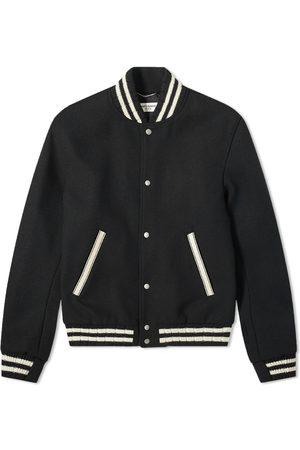 Saint Laurent Teddy Back Logo Varsity Jacket