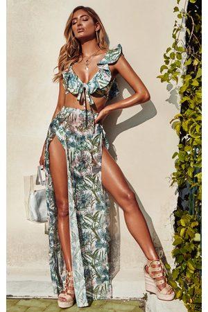 PRETTYLITTLETHING Pale Khaki Leafy Frill Split Maxi Skirt