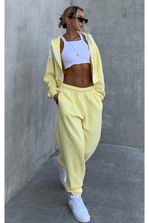 PRETTYLITTLETHING Lemon Thick Zip Up Drawstring Cropped Hoodie