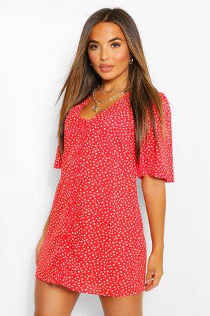 Boohoo Womens Petite Polka Dot Button Detail Mini Shift Dress - - 2