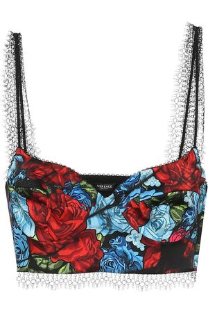 VERSACE Floral twill bustier