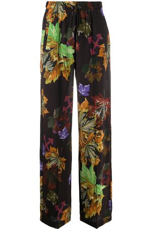 OFF-WHITE Arrows leaf-print wide-leg trousers