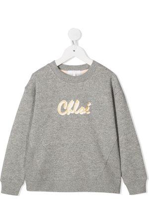 Chloé Logo-print rib-trimmed sweatshirt - Grey