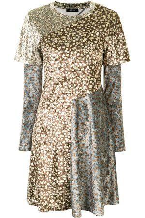 GOEN.J Floral-print panelled dress - Multicolour