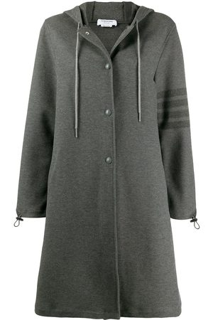 Thom Browne Hooded snap front parka with 4-bar in double face tech twill - Grey
