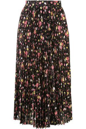 Msgm Floral print pleated midi skirt